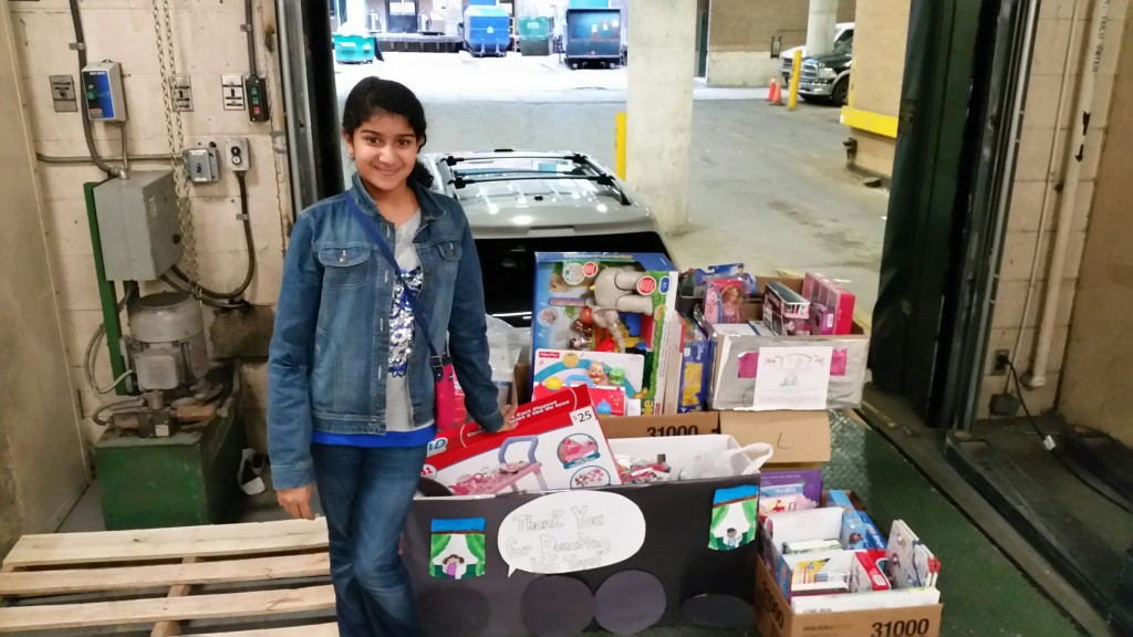 Anjani drops off over 200 toys for sick children at the hospital.